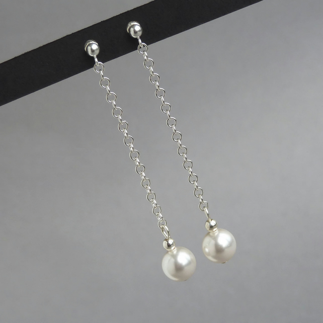 White Pearl Drop Earrings - White Swarovski Pearl Bridal Jewellery - Wedding