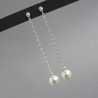 Long Chain Drop Earrings - White Swarovski Pearl Bridal Jewellery - Wedding Gift