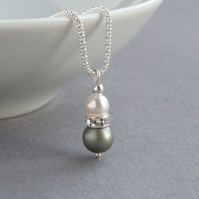Sage Green Pendant Necklace - Olive Pearl Bridesmaid Jewellery - Bridal Necklace