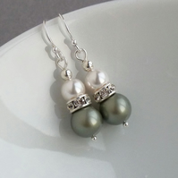 Sage Green Pearl Drop Earrings - Pistachio Bridesmaids Gifts - Wedding Jewellery