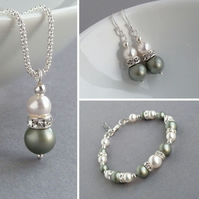 Sage Green Pearl Jewellery Set - Bridesmaids Gifts - Pistachio Wedding Jewellery