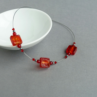 Red Fused Glass Necklace - Bright Red Glass Jewellery  - Simple Red Necklaces