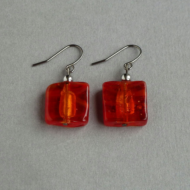 Red Fused Glass Earrings - Tomato Red Square Dangle Earrings - Bright Red Drops