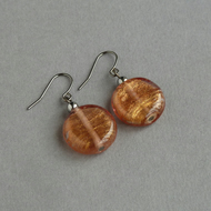Copper Fused Glass Earrings - Coin Dangle Earrings - Cooper Glass Jewellery