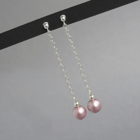Long Drop Dusky Pink Earrings - Rose Pearl Dangle Earrings - Bridesmaids Gifts