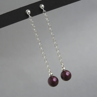 Long Plum Drop Earrings - Aubergine Pearl Dangle Earrings - Bridesmaid Jewellery