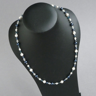 Navy and White Pearl Necklace - Dark Blue Pearl and Crystal Wedding Jewellery