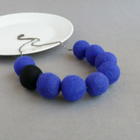 Royal Blue & Black Felt Necklace - Chunky Cobalt Blue Felted Statement Jewellery