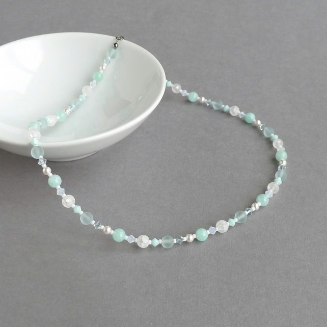 Aqua Beaded Necklace - Mint Green Gemstone and Pearl Wedding Jewellery