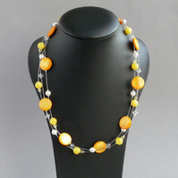 Mustard Necklace - Yellow and White Multi-strand Necklace - Bridesmaid Jewellery