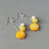 Mustard Earrings - Yellow and White Drop Earrings - Bridesmaid Jewellery