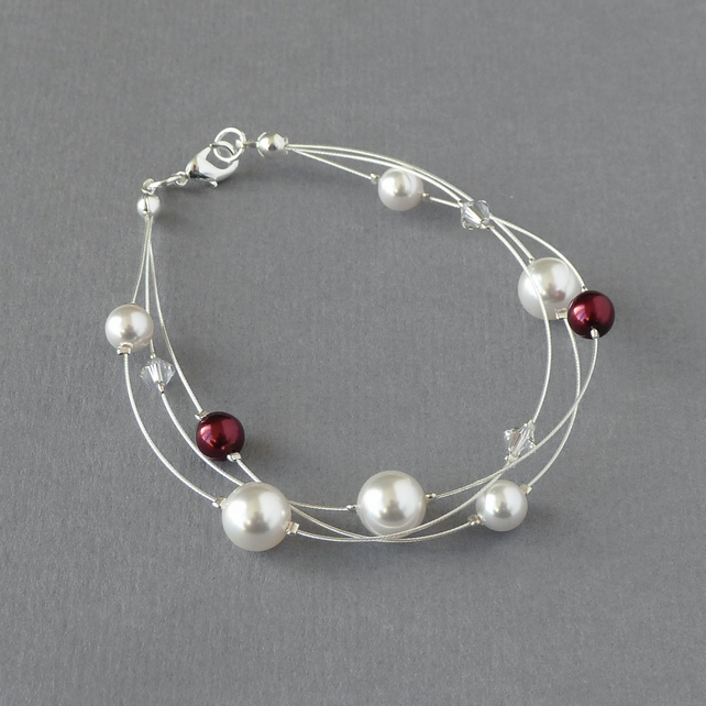 White and Burgundy Floating Pearl Bracelet - Dark Red Bridal Jewellery - Wedding