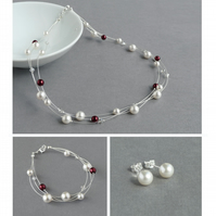 White and Burgundy Floating Pearl Jewellery Set - Necklace, Bracelet and Studs