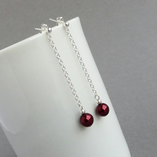 Long Burgundy Pearl Drop Earrings - Dark Red Bridesmaids Earrings - Red Weddings
