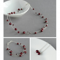 Burgundy Floating Pearl Jewellery Set - Necklace, Bracelet and Drop Earrings