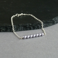 Lavender Pearl and Sterling Silver Chain Layering Bracelet - Stacking Jewellery