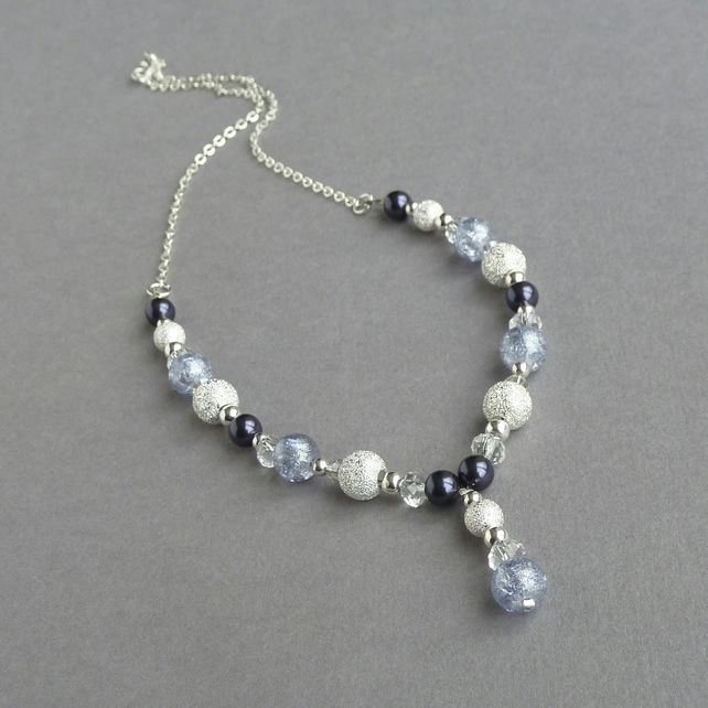 Dusty Purple Pearl and Stardust Y Necklace - Lavender Bridesmaids Jewellery