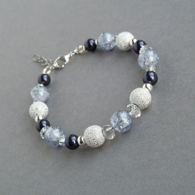 Dusty Purple Pearl and Stardust Bracelet - Lavender Bridesmaids Jewellery