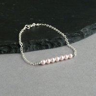 Blush Pink Pearl and Chain Bracelet - Pink Bridal Jewellery - Pale Pink Wedding