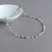 Dusky Pink Pearl Necklace - Tea Rose and Silver Mother of the Bride Jewellery