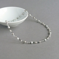 Silver Grey Pearl Necklace - Mother of the Bride or Groom Necklace - Jewellery