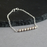 Champagne Pearl and Sterling Silver Chain Layering Bracelet - Dainty Bracelets