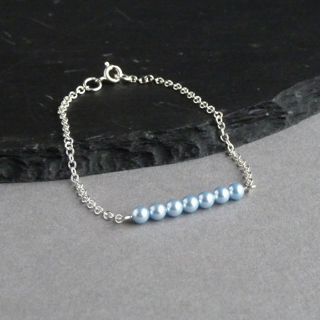 Dainty Powder Blue Pearl and Sterling Silver Stacking Bracelet - Light Blue Gift