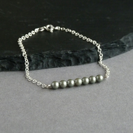 Sage Green Pearl Bracelet - Olive Green & Sterling Silver Bridesmaids Jewellery