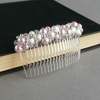 Blush Pink Stardust Hair Comb - Light Pink Bridesmaids Hair Accessories