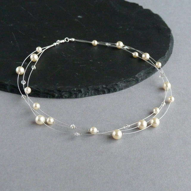 Bridesmaid Necklace Gift Bridesmaid Bracelet Gift 3 Floating Pearl Necklace and Bracelet Gold Jewelry Sets