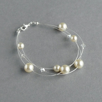 Cream Multi-strand Bridal Bracelet - Ivory Pearl Bridesmaids Gifts - Jewellery