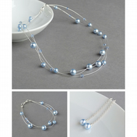 Powder Blue Floating Pearl Jewellery Set - Necklace, Bracelet and Earrings