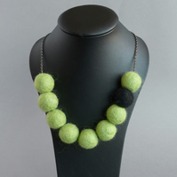 Chunky Lime Colour Block Necklace - Olive Green Felt Beaded Statement Jewellery