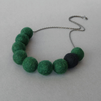 Bottle Green Felt Necklace - Chunky Dark Green Statement Jewellery -Forest Green