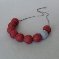 Chunky Burgundy Felt Beaded Necklace - Maroon Statement Colour Block Jewellery