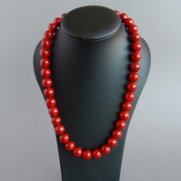 Chunky Red Necklace - Tomato Statement Necklace - Bright Red Stone Jewellery