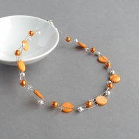 Orange Floating Pearl Necklace - Tangerine Multi-strand Jewellery - Bridesmaids