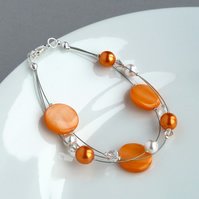 Orange Floating Pearl Bracelet - Apricot Multi-strand Jewellery - Bridesmaids