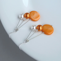 Orange Three Strand Dangle Earrings - Wedding Jewellery or Bridesmaid Gifts