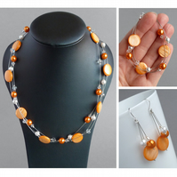 Orange Floating Pearl Jewellery Set - Tangerine Necklace, Bracelet and Earrings