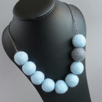 Pale Blue Felt Necklace - Light Blue Chunky Jewellery - Powder Blue Felted Gifts