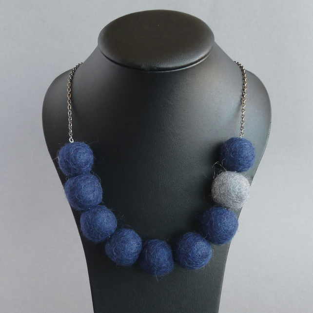 Navy Blue and Grey Felt Necklace - Midnight Blue Chunky Felted Bead Necklace