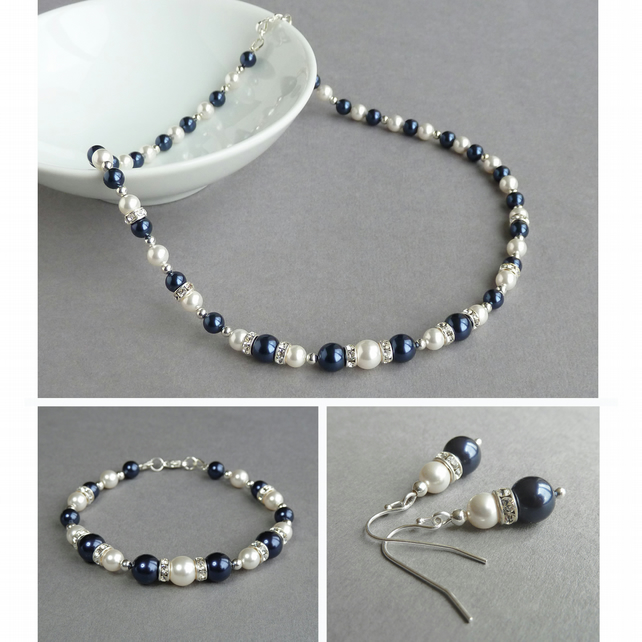 Navy Pearl and Crystal Jewellery Set - Dark Blue Necklace, Bracelet and Earrings
