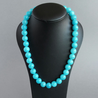 Chunky Turquoise Necklace - Cyan Stone Jewellery - Aqua Statement Necklaces