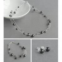 Black Pearl Jewellery Set - Dark Grey Three Strand Necklace, Bracelet and Studs