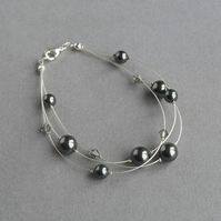 Black Pearl Multi-strand Bracelet - Dark Grey Floating Pearl Jewellery - Gifts