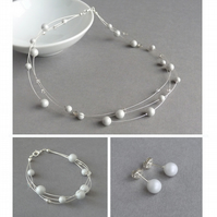 Powder Grey Floating Pearl Jewellery Set - Light Grey Multi-strand Set - Wedding