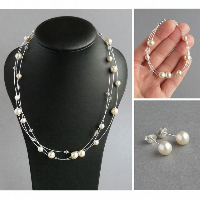 Cream Pearl Jewellery Set - Cream Floating Pearl Bridesmaid Gifts - Wedding