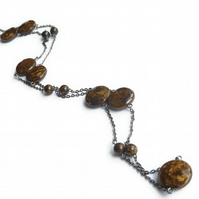 Bronzite Necklace - Brown Semi-Precious Stone Necklace - Long Dangle Chain