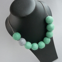 Chunky Jade Green Felted Necklace - Colourful Colour Block Felt Ball Jewellery